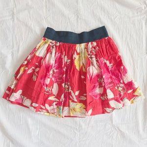Abercrombie red floral skater style skirt